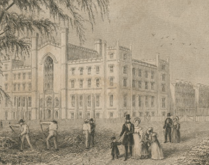 Detail from an engraving of the University Building by Robert Hishelwood, with 27 Washington Place visible behind it.